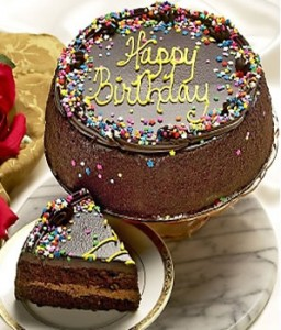 Dark Chocolate Cake With Fudgy Filling Is Topped Ganache Frosting Hand Decorated The Festive Candy Confetti And A Yellow Happy Birthday